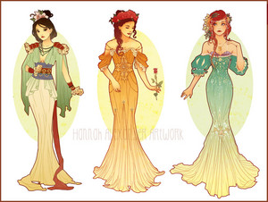 Art Nouveau Costume Designs: Mulan, Belle, Ariel