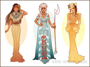Art Nouveau Costume Designs: Pocohontas, Kida, Jane
