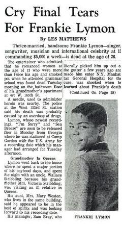 artikel Pertaining To The Passing Of Frankie Lymon