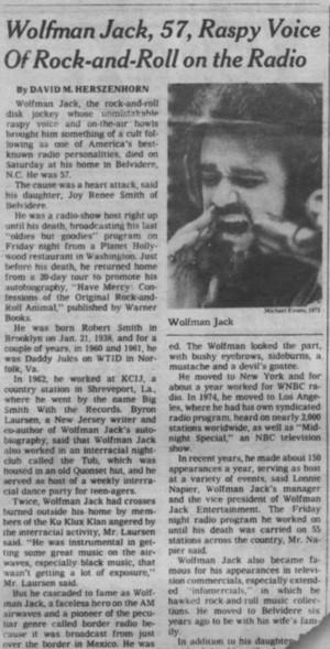 記事 Pertaining To The Passing Of Wolfnan Jack