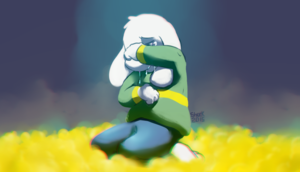 Asriel Dreemurr Crying while Sitting in a lit of Golden fleurs