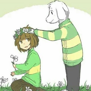 Asriel and Chara in a 花 Garden