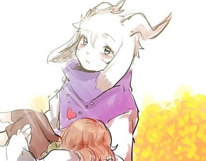 Asriel carrying Chara to the Golden fleurs