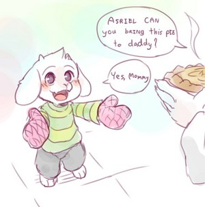 Asriel getting ready to bring Asgore a Pie.