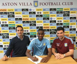 Aston Villa's new signing Johan Abdoul and agent Gregoire Akcelrod