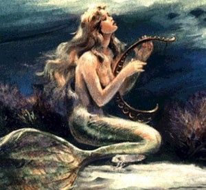 Beautiful Mermaid Playing Harp