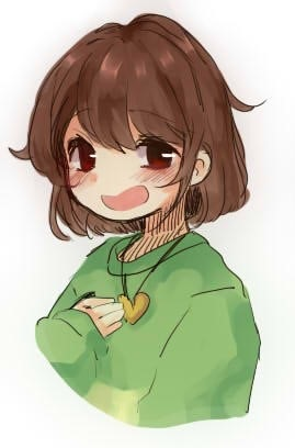 Chara Dreemurr wearing her Heart Locket