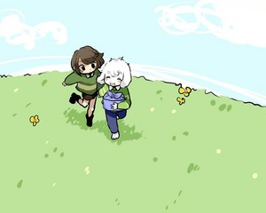 Chara and Asriel Running in a Field