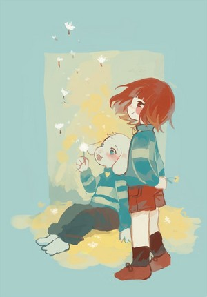 Chara and Asriel with Dandelions