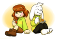 Chara eating a chocolate Bar and Asriel eating a slice of Butterscotch-Cinnamon Pie