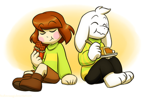 Chara eating a chocolat Bar and Asriel eating a slice of Butterscotch-Cinnamon Pie