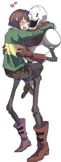 Chara hugging Papyrus