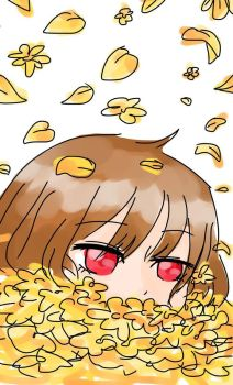 Chara in a pile of Golden bulaklak