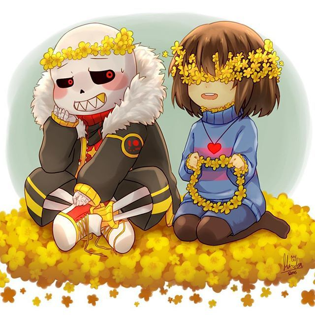 chibi FlowerFell!Sans and chibi FlowerFell!Frisk making fiore Crowns