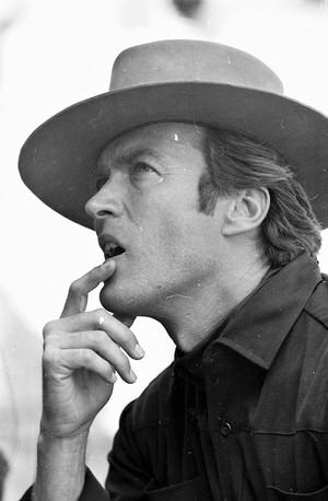 Clint Eastwood on the set of Hang 'Em High 1968