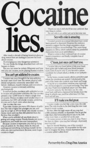 Cocaine Lies ad (1988)
