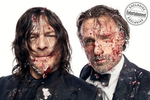 The Walking Dead karatasi la kupamba ukuta entitled EW: Dead and Loving it! ~ Norman Reedus and Andrew lincoln
