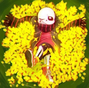 FlowerFell Sans Relaxing in a bett of Golden Blumen