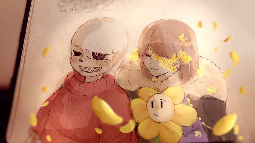 FlowerFell!Sans and FlowerFell!Frisk with Flowey