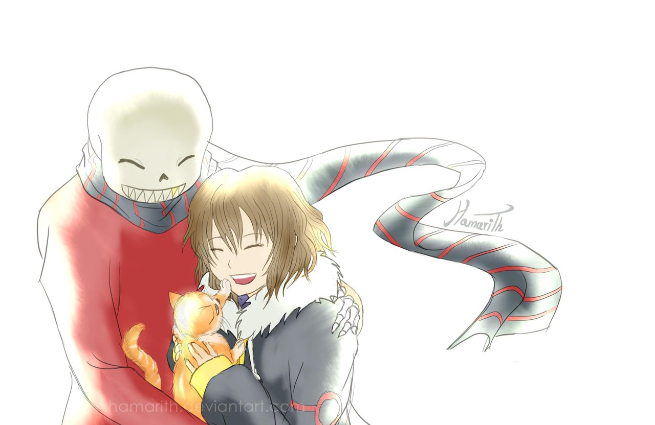 FlowerFell!Sans and FlowerFell!Frisk with a Kitty