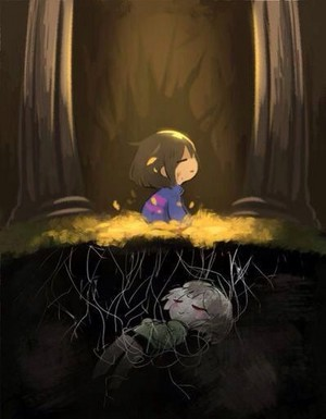 Frisk after falling down Mount Ebott
