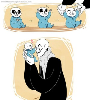 Gaster and baby Sans