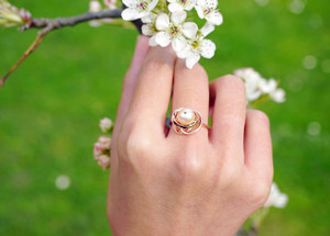 Infinity Knot Pearl Ring Hong Kong jewelry designer fashion Vulcan Jewelry artjewelry