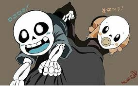 Little Sans and little Papyrus greeting Gaster