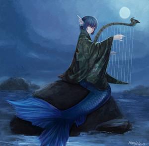 Mermaid Playing Harp