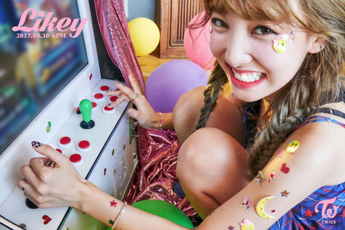 "Twice (JYP Ent) wallpaper called Nayeon teaser image for ""Likey"""