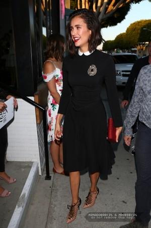 Nina Dobrev arriving at Harpers Bazaar's party