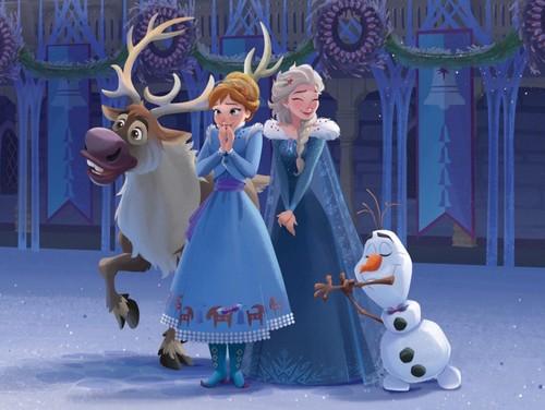 Frozen wallpaper called Olafs Frozen Adventure - Storybook Illustration