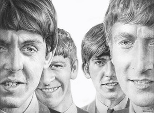 Pencil Sketch Of The Beatles (by raulrk)