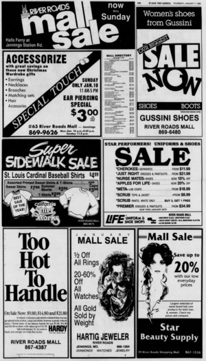 River Roads Mall sale ad (1988)