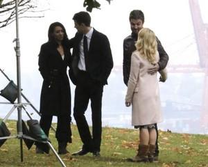 Stephen Amell & Emily Bett on set of Arrowverse crossover.