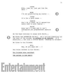 Stranger Things Season 2 Script Page