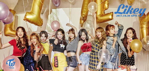 Twice (JYP Ent) wallpaper titled TWICE enjoy a party in group teaser image for 'Likey'