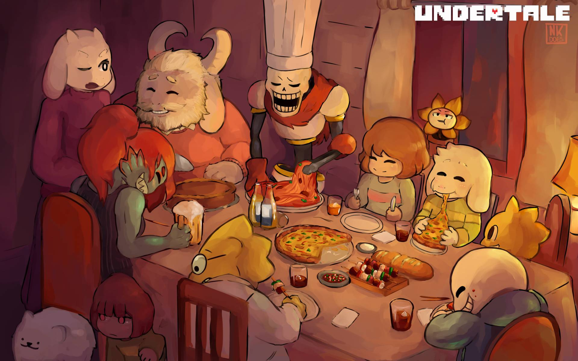 Undertale Characters Enjoying hapunan Together