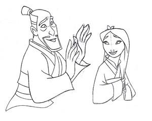 Walt 디즈니 Sketches – Fa Zhou & Fa 뮬란
