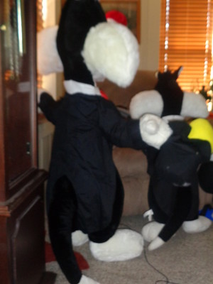 two lifesize plush Sylvester the cat magicians 2