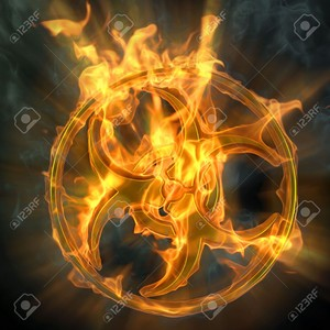 9311035 flaming biohazard sign isolated on black  Stock Photo fire backgrounds biohazard