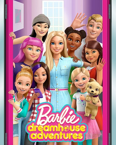 Sinema za Barbie karatasi la kupamba ukuta entitled Barbie Dreamhouse Adventures Official Poster!