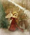 Beautiful Christmas Angel In Art - angels fan art