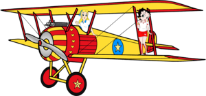 Betty & Sally on the biplan, biplane Anime Render