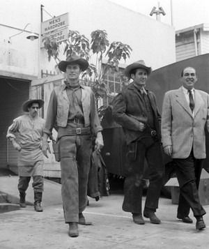 Bob Carricart, Clint Eastwood, Sheb Wooley, and director Charles Warren