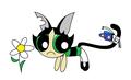 Cat Buttercup and a butterfly - powerpuff-girls fan art