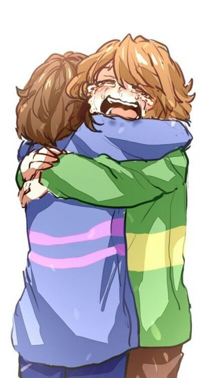 Chara and Frisk hugging Each Other
