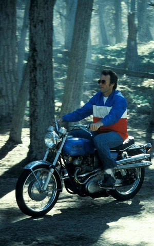 Clint Eastwood and his Norton Commando motorcycle