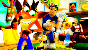 Crash and Jak and Daxter Hanging Out फ्रेंड्स Together edited