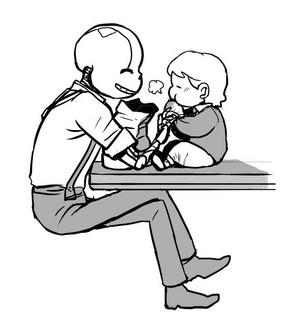 G!Sans feeding Kitty-Cat some 빵